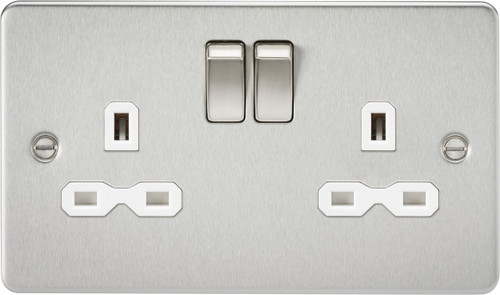 Flat Plate 13A 2G DP Switched Socket - Brushed Chrome with White Insert (DFL1FPR9000BCW)