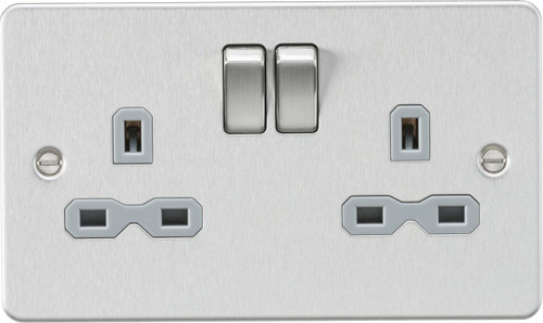 Flat Plate 13A 2G DP Switched Socket - Brushed Chrome with Grey Insert (DFL1FPR9000BCG)