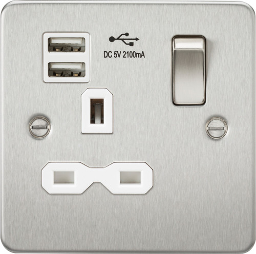 Flat plate 13A 1G switched socket with dual USB charger - Brushed Chrome with White Insert (DFL1FPR9901BCW)