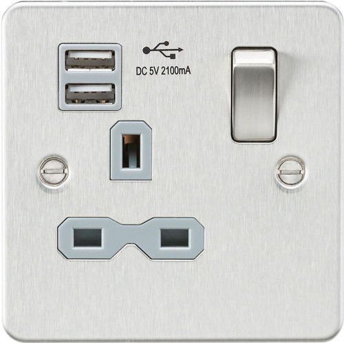 Flat plate 13A 1G switched socket with dual USB charger - Brushed Chrome with Grey Insert (DFL1FPR9901BCG)