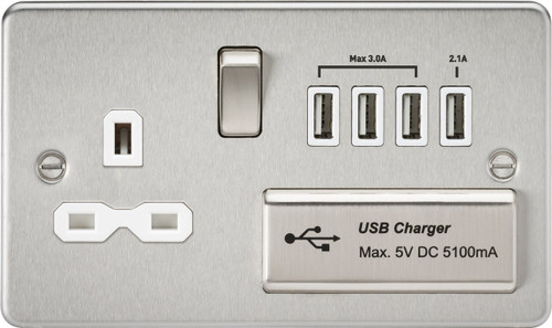 Flat plate 13A switched socket with quad USB charger - brushed chrome with White Insert (DFL1FPR7USB4BCW)
