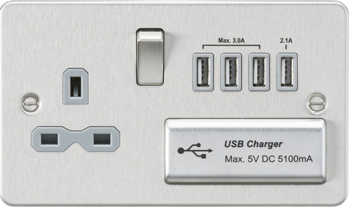 Flat plate 13A switched socket with quad USB charger - brushed chrome with Grey Insert (DFL1FPR7USB4BCG)