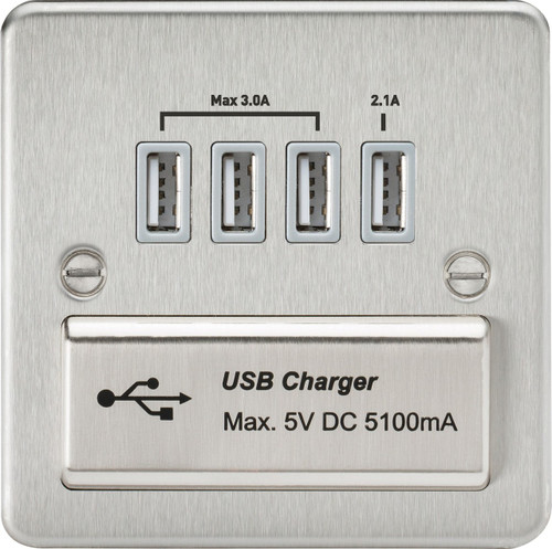 Flat Plate 1G Quad USB Charger Outlet 5V DC 5.1A - Brushed Chrome with Grey Insert (DFL1FPQUADBCG)