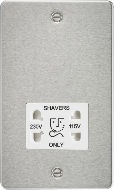 Flat Plate 115V/230V Dual Voltage Shaver Socket - Brushed Chrome with White Insert (DFL1FP8900BCW)