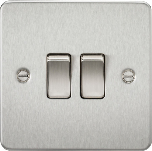 Flat Plate 10A 2G 2-Way Switch - Brushed Chrome (DFL1FP3000BC)