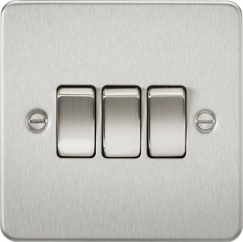 Flat Plate 10A 3G 2-Way Switch - Brushed Chrome (DFL1FP4000BC)