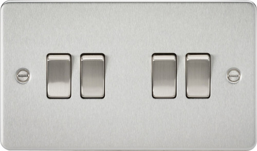 Flat Plate 10A 4G 2-Way Switch - Brushed Chrome (DFL1FP4100BC)