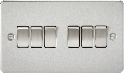 Flat Plate 10A 6G 2-Way Switch - Brushed Chrome (DFL1FP4200BC)