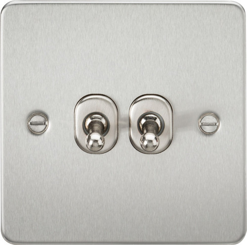Flat Plate 10A 2G 2-Way Toggle Switch - Brushed Chrome (DFL1FP2TOGBC)