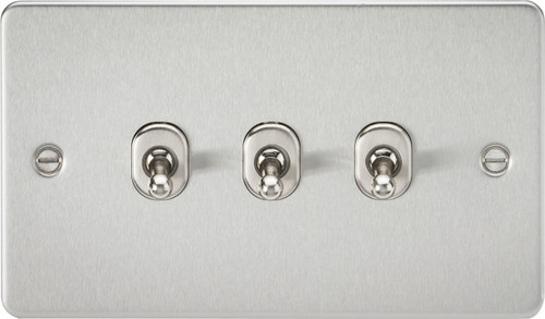 Flat Plate 10A 3G 2-Way Toggle Switch - Brushed Chrome (DFL1FP3TOGBC)