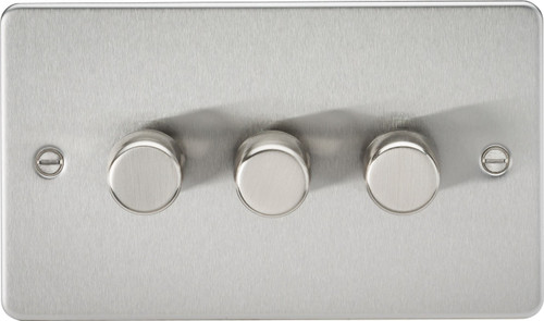 Flat Plate 3G 2-Way 10-200W (5-150W LED) Dimmer Switch - Brushed Chrome (DFL1FP2183BC)