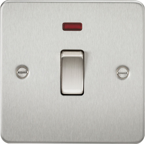 Flat Plate 20A 1G DP Switch with Neon - Brushed Chrome (DFL1FP8341NBC)