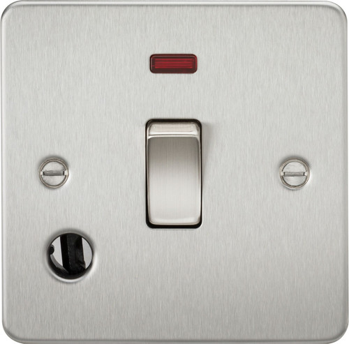 Flat Plate 20A 1G DP Switch with Neon & Flex Outlet - Brushed Chrome (DFL1FP8341FBC)