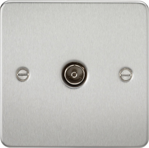 Flat Plate 1G TV Outlet (Non-Isolated) - Brushed Chrome (DFL1FP0100BC)
