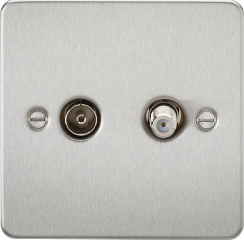 Flat Plate TV & SAT TV Outlet (Isolated) - Brushed Chrome (DFL1FP0140BC)