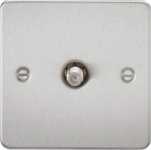 Flat Plate 1G SAT TV Outlet (Non-Isolated) - Brushed Chrome (DFL1FP0150BC)