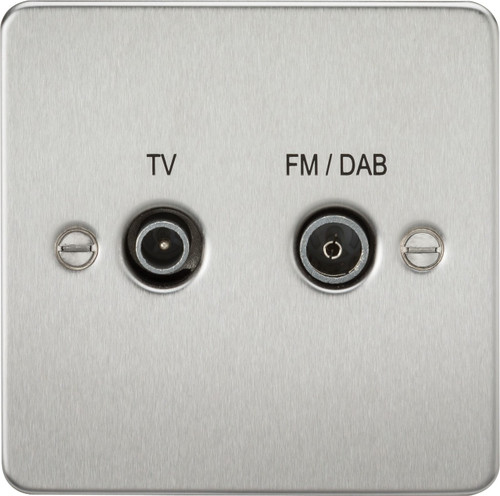 Flat Plate Screened Diplex Outlet (TV & FM DAB) - Brushed Chrome (DFL1FP0160BC)