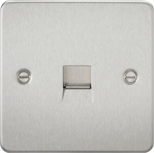Flat Plate Telephone Master Socket - Brushed Chrome (DFL1FP7300BC)