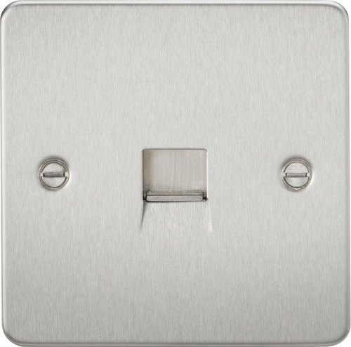 Flat Plate Telephone Extension Socket - Brushed Chrome (DFL1FP7400BC)