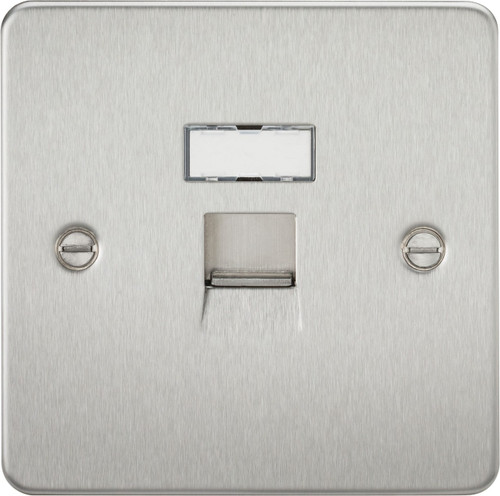 Flat Plate RJ45 Network Outlet - Brushed Chrome (DFL1FPRJ45BC)