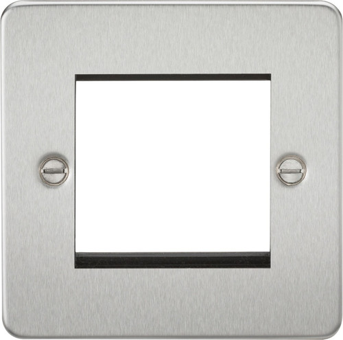 Flat Plate 2G modular faceplate - Brushed Chrome (DFL1FP2GBC)