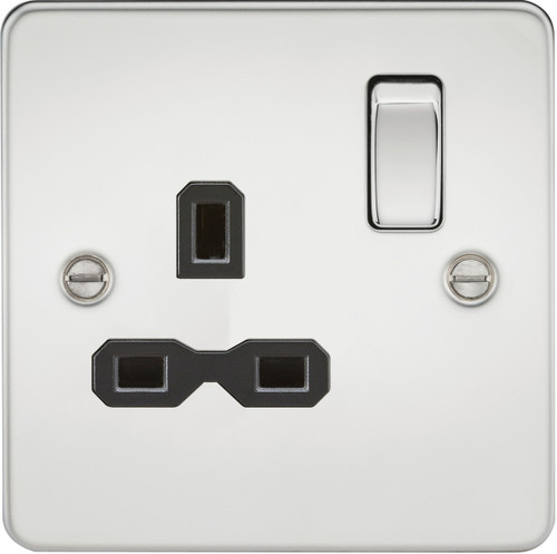 Flat Plate 13A 1G DP Switched Socket - Polished Chrome with Black Insert (DFL1FPR7000PC)