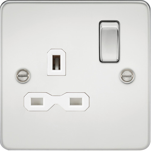 Flat Plate 13A 1G DP Switched Socket -Polished Chrome with White Insert (DFL1FPR7000PCW)