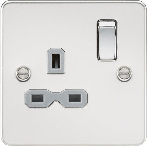 Flat Plate 13A 1G DP Switched Socket - Polished Chrome with Grey Insert (DFL1FPR7000PCG)