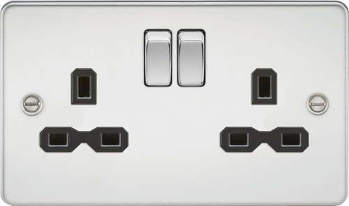 Flat Plate 13A 2G DP Switched Socket - Polished Chrome with Black Insert (DFL1FPR9000PC)
