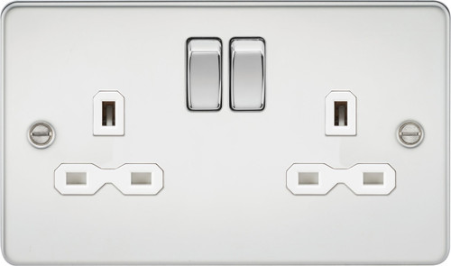 Flat Plate 13A 2G DP Switched Socket - Polished Chrome with White Insert (DFL1FPR9000PCW)