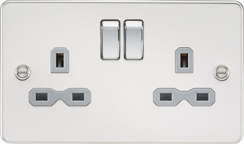 Flat Plate 13A 2G DP Switched Socket - Polished Chrome with Grey Insert (DFL1FPR9000PCG)