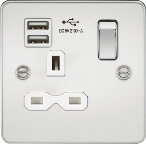 Flat plate 13A 1G switched socket with dual USB charger - Polished Chrome with White Insert (DFL1FPR9901PCW)
