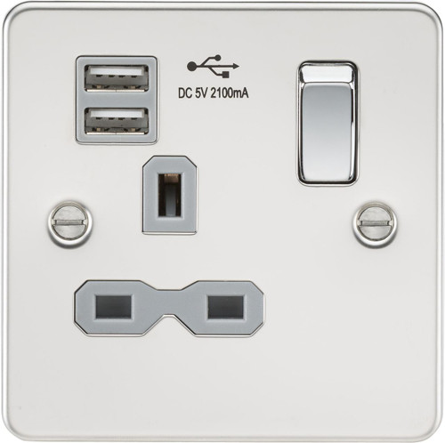 Flat plate 13A 1G switched socket with dual USB charger - Polished Chrome with Grey Insert (DFL1FPR9901PCG)