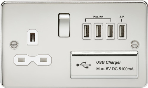 Flat Plate 13A Switched Socket with Quad USB Charger - Polished Chrome with White Insert (DFL1FPR7USB4PCW)