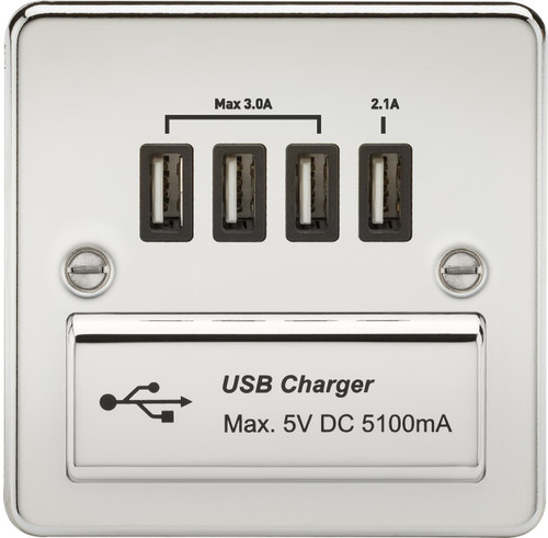 Flat Plate 1G Quad USB Charger Outlet 5V DC 5.1A - Polished Chrome with Black Insert (DFL1FPQUADPC)