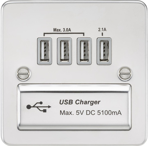 Flat Plate 1G Quad USB Charger Outlet 5V DC 5.1A - Polished Chrome with Grey Insert (DFL1FPQUADPCG)