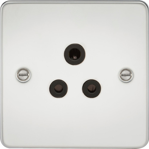 Flat Plate 5A Unswitched Socket - Polished Chrome with Black Insert (DFL1FP5APC)