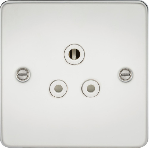 Flat Plate 5A Unswitched Socket - Polished Chrome with White Insert (DFL1FP5APCW)