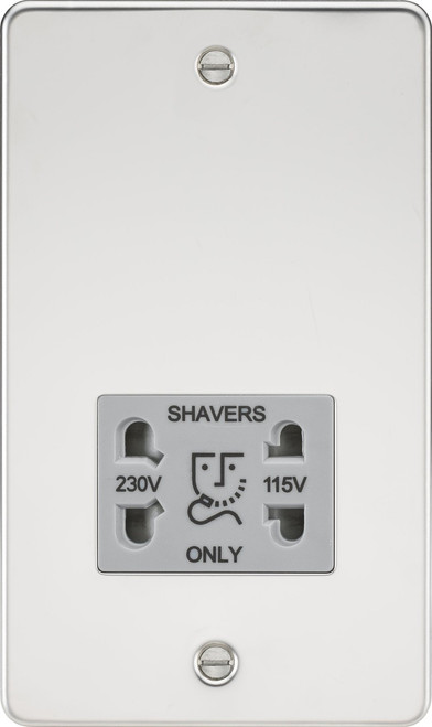 Flat Plate 115V/230V Dual Voltage Shaver Socket - Polished Chrome with Grey Insert (DFL1FP8900PCG)