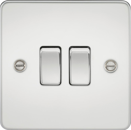 Flat Plate 10A 2G 2-Way Switch - Polished Chrome (DFL1FP3000PC)