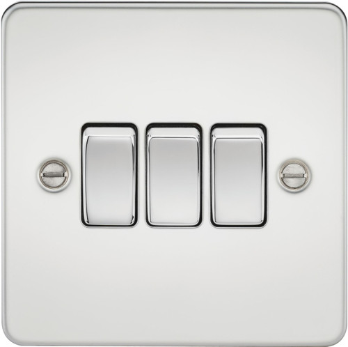 Flat Plate 10A 3G 2-Way Switch - Polished Chrome (DFL1FP4000PC)