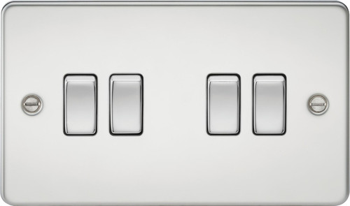 Flat Plate 10A 4G 2-Way Switch - Polished Chrome (DFL1FP4100PC)