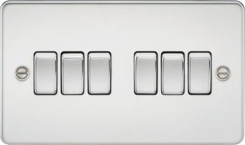 Flat Plate 10A 6G 2-Way Switch - Polished Chrome (DFL1FP4200PC)