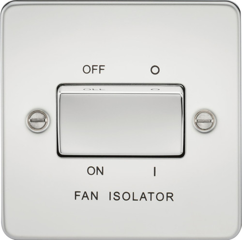 Flat Plate 10A 3 Pole Fan Isolator Switch - Polished Chrome (DFL1FP1100PC)