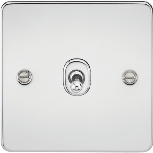 Flat Plate 10A 1G 2-Way Toggle Switch - Polished Chrome (DFL1FP1TOGPC)