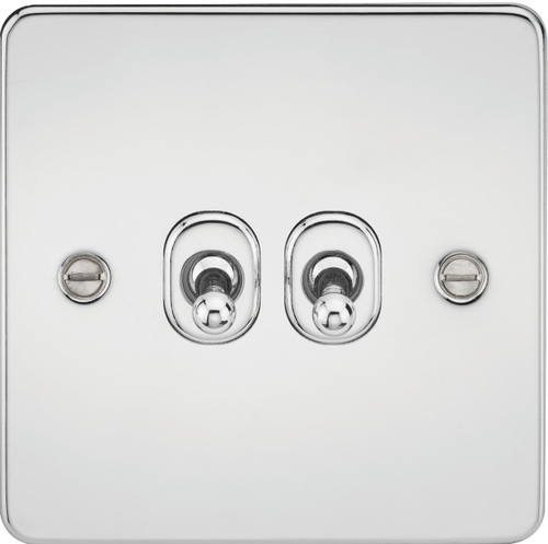 Flat Plate 10A 2G 2-Way Toggle Switch - Polished Chrome (DFL1FP2TOGPC)