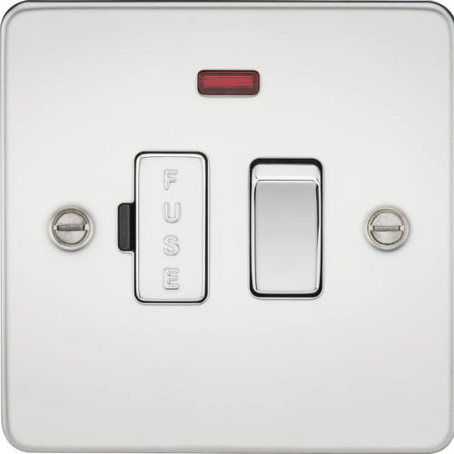 Flat Plate 13A Switched Fused Spur Unit with Neon - Polished Chrome (DFL1FP6300NPC)