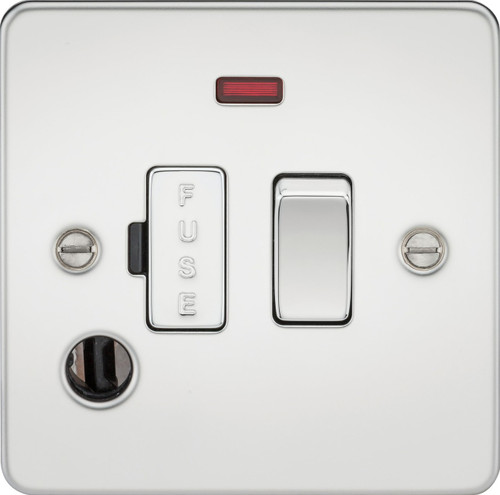 Flat Plate 13A Switched Fused Spur Unit with Neon and Flex Outlet - Polished Chrome (DFL1FP6300FPC)