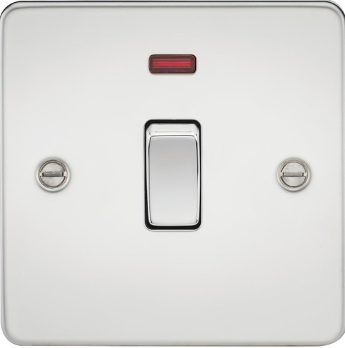 Flat Plate 20A 1G DP Switch with Neon - Polished Chrome (DFL1FP8341NPC)