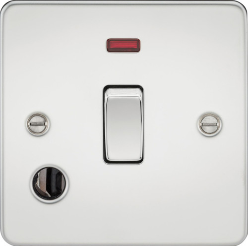 Flat Plate 20A 1G DP Switch with Neon & Flex Outlet - Polished Chrome (DFL1FP8341FPC)
